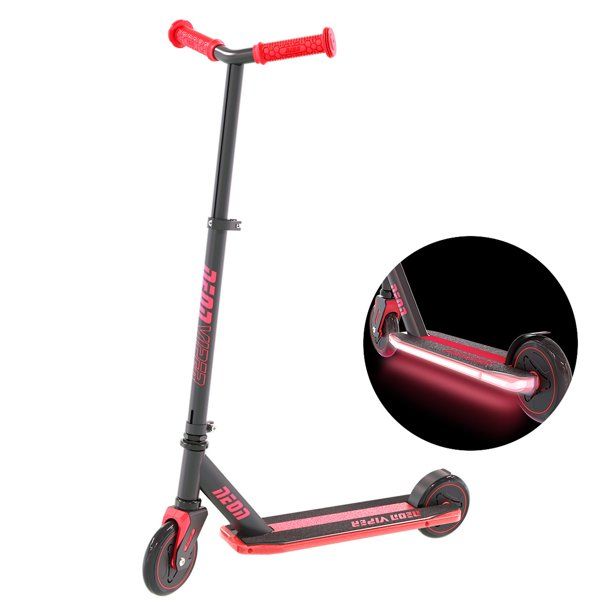Neon Viper LED Scooter with LED Light Up Deck for Kids Age 5+ Red