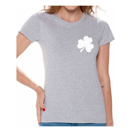 Awkward Styles Shamrock Pocket Size Shirt Shamrock Green T-Shirt Women's St. Patrick's Day Shirts Lucky Charm Gifts Proud Irish American Wome Green Outfits for St. Paddy's Day Irish Clover Gifts](St Paddys Day Outfits)