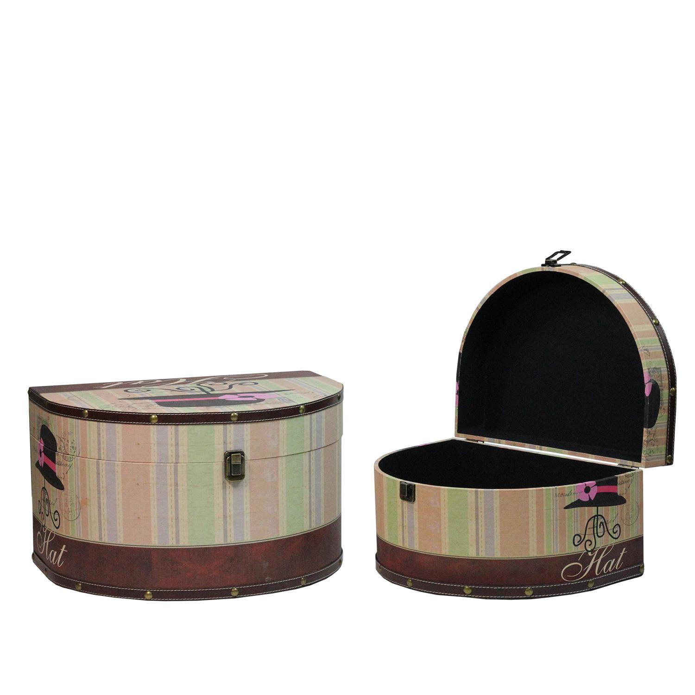Set of 2 Wooden Vintage-Style Decorative Hat Storage Boxe...