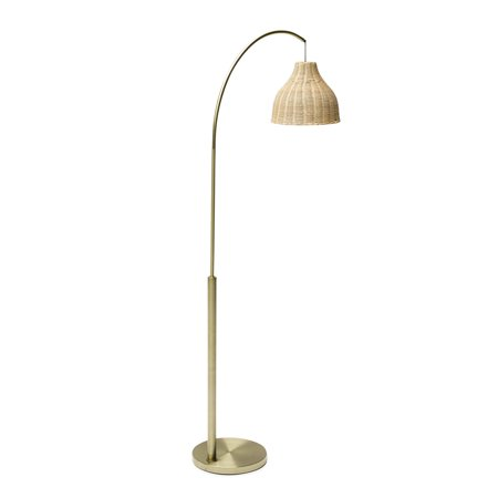 Antique Brass Arch Floor Lamp with Rattan Shade by Drew Barrymore Flower Home Antique Brass Williamsburg 1 Light