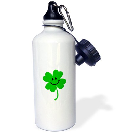3dRose Happy Shamrock - Cute smiley face lucky four leaf clover - Irish good luck charm - Green Ireland, Sports Water Bottle, - Lucky Shamrock