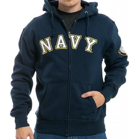 RapDom US Navy Full Zip-Up Mens Hoodie Jacket [Navy Blue - 2XL] Navy Blue Nhl Sweatshirt