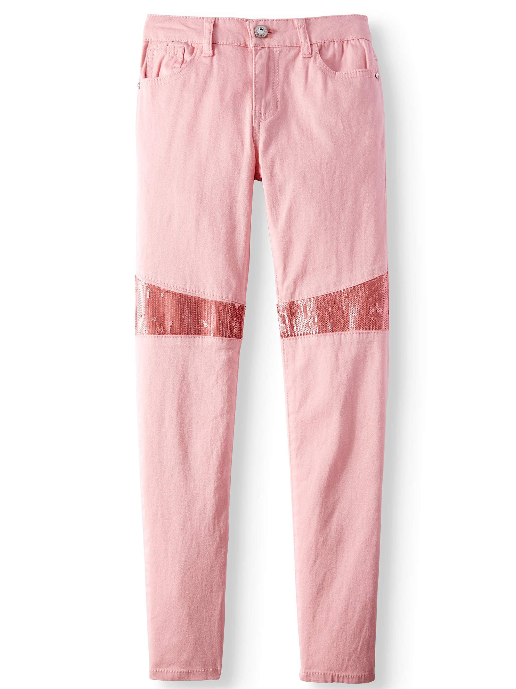 Sequin Inset Skinny Twill Pant (Big Girls)