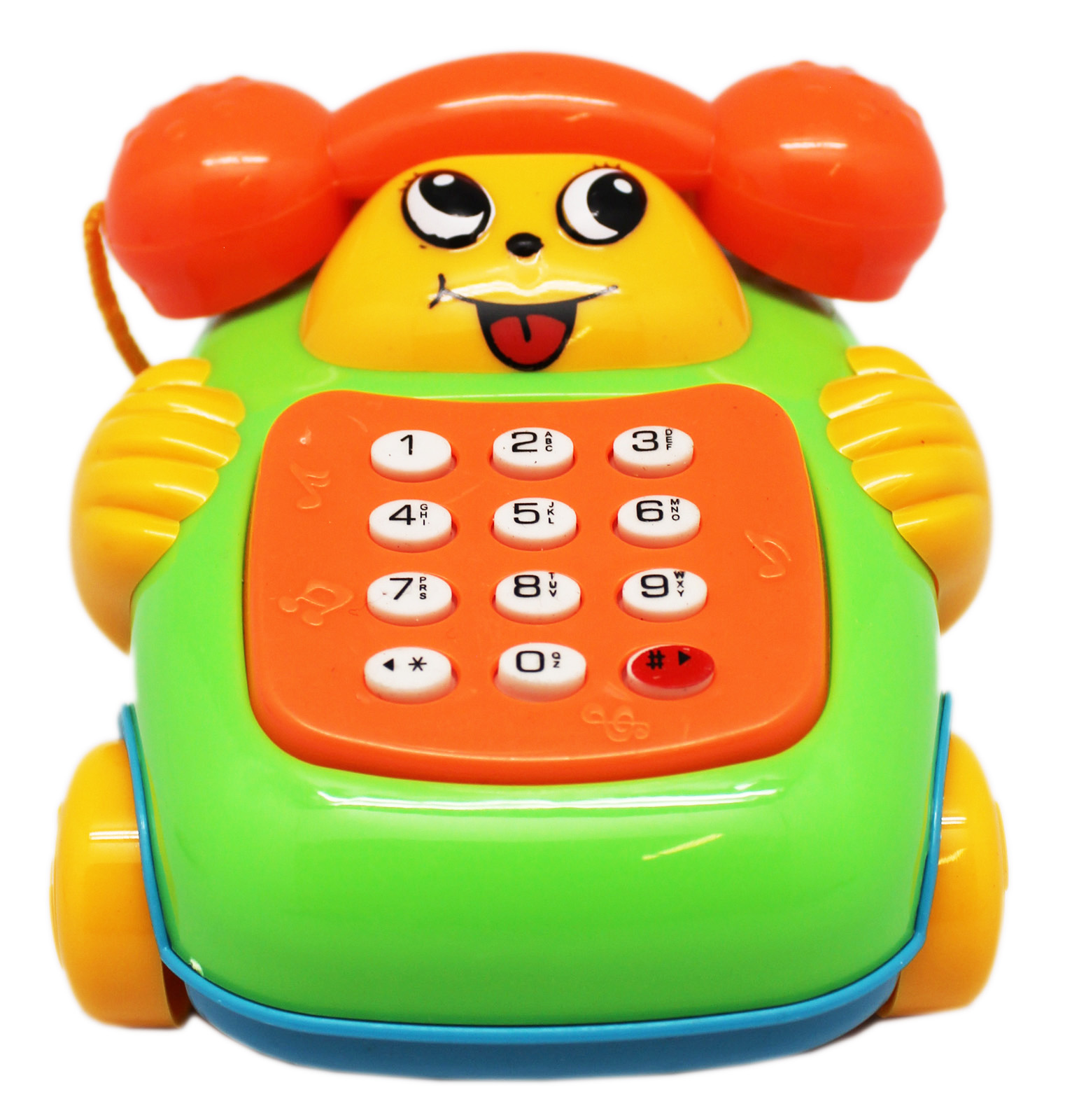 Yellow Face and Hands w/Green Body Children's Muscial Toy Telephone