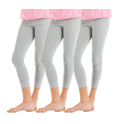 3 Packs Gray Big Girls Solid Colored Cotton Leggings Soft Cotton Comfy, Size: 4-6, Gray
