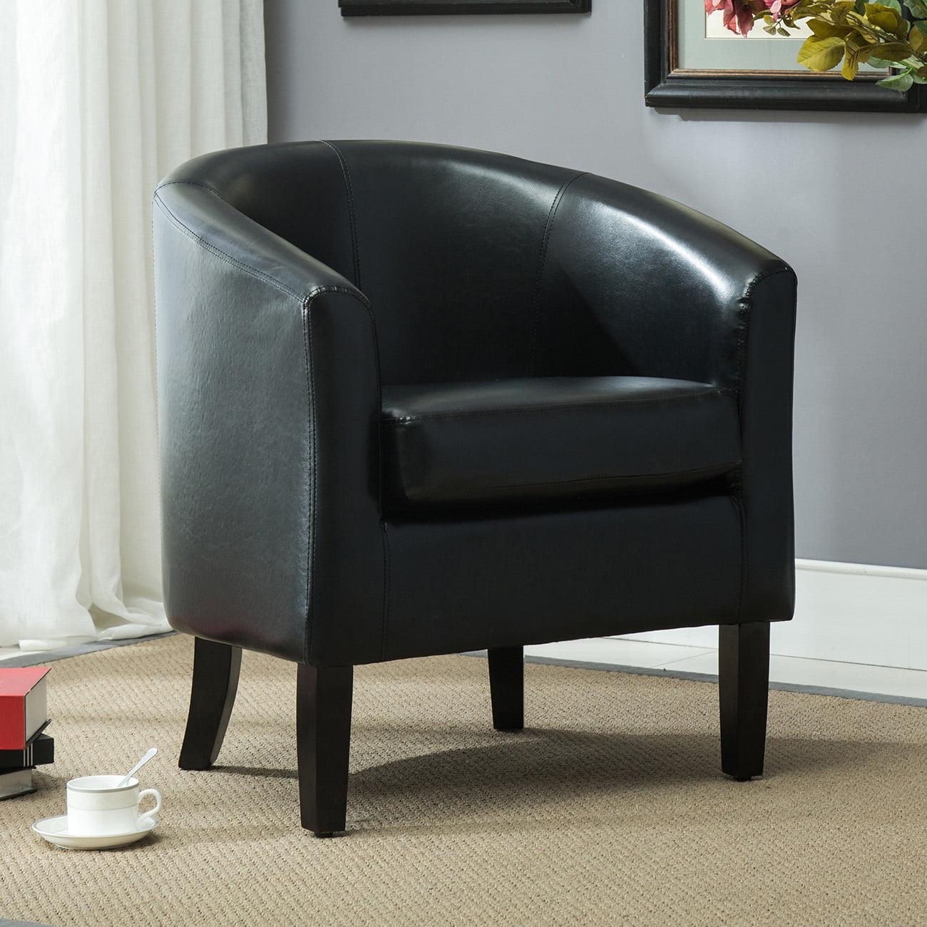 Belleze Club Chair Side Accent Elegance Faux Leather, Black by Belleze