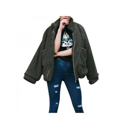 Ropalia Women Fluffy Comfy Loose Lapel Zip Jacket Men Coat Plus Size Warm Plush Outfits (Plus Size Men)