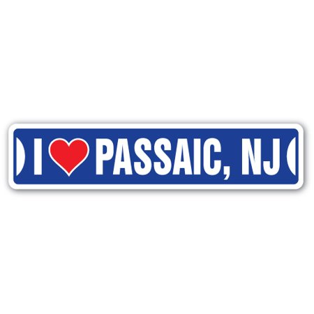 Party City Stores Nj (I LOVE PASSAIC, NEW JERSEY Street Sign nj city state us wall road décor)