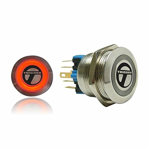 Autoloc 22Mm Momentary Billet Button With Led Orange Ring AUTSW47O