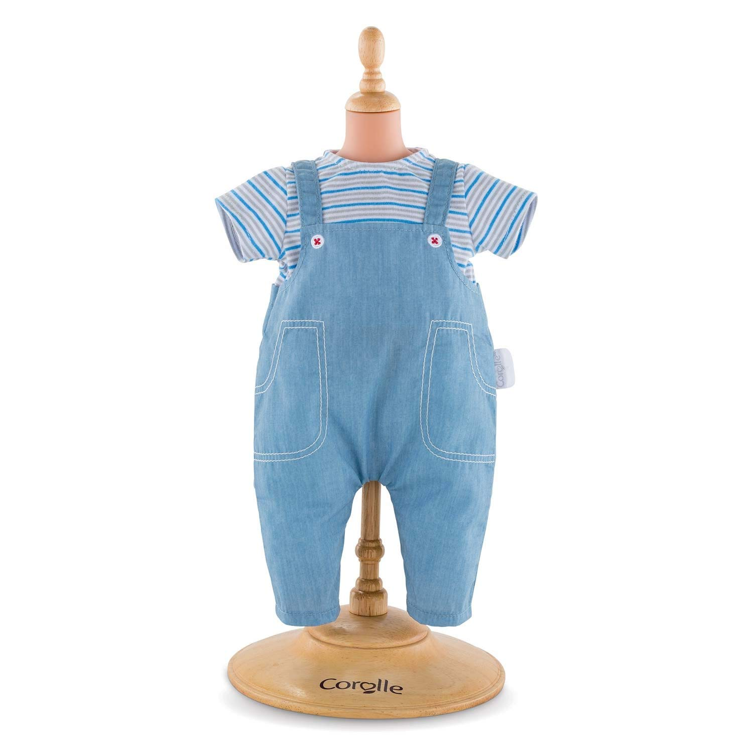 "Mon Premier Poupon 12"" Striped T-Shirt & Overalls Toy Baby Doll, Pink, The perfect casual outfit for a... by"