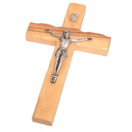 Olive Wood Cross with Crucifix - 6 Inches