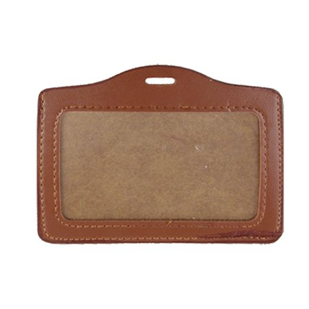 Business Credit Card (Unique Bargains Brown Faux Leather Organizer Credit Business ID Badge Card Holder Silzq )