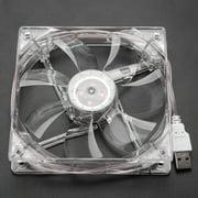 Peahefy LED Cooling Fan,12cm USB LED Transparent Colorful Light Cooling Fan PC Computer CPU Cooling Fan, LED CPU Cooling Fan