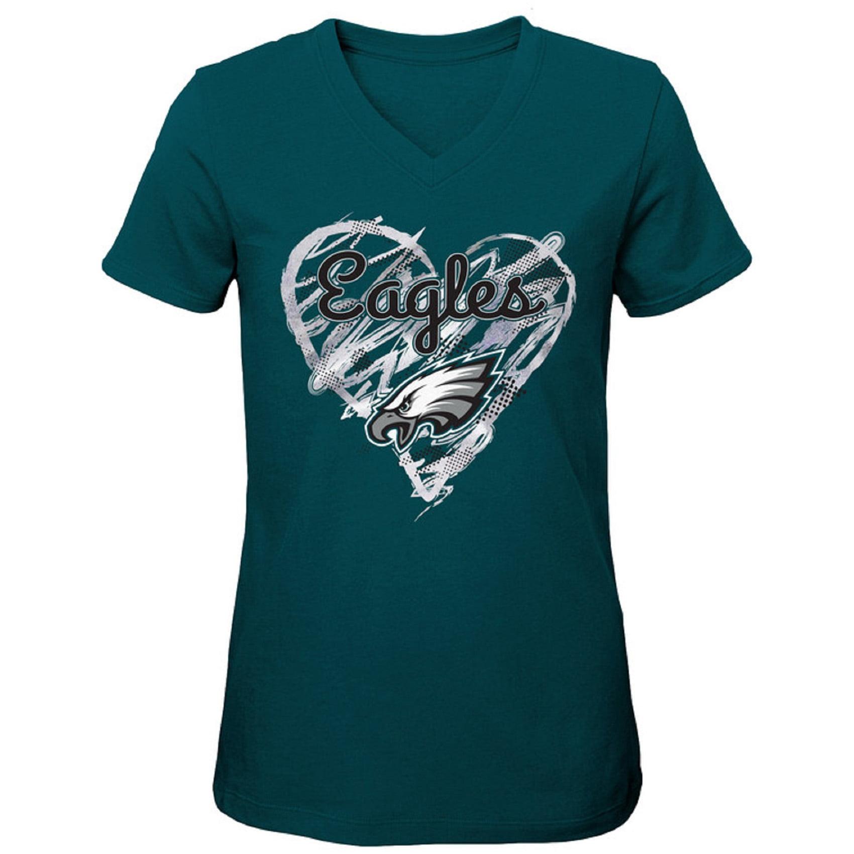Girls Youth Midnight Green Philadelphia Eagles Heart V-Neck T-Shirt