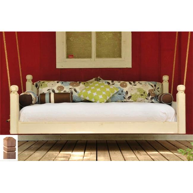 Swing Beds Online ORG-TWN-CYP-ANT-SQ-STN 84 inch Antique Cypress Square Post Tops Original Swingbed - Stain