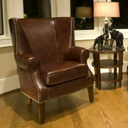 Camden Leather Top Grain Accent Chair in Raisin
