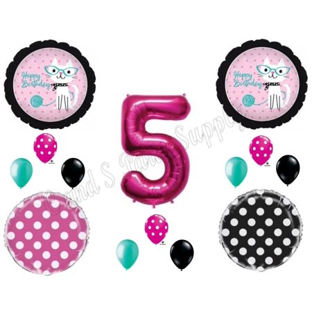 5th KITTY CAT DIVA Purrfect Birthday Party Balloons Decoration Supplies Fifth](Kitty Cat Party Supplies)