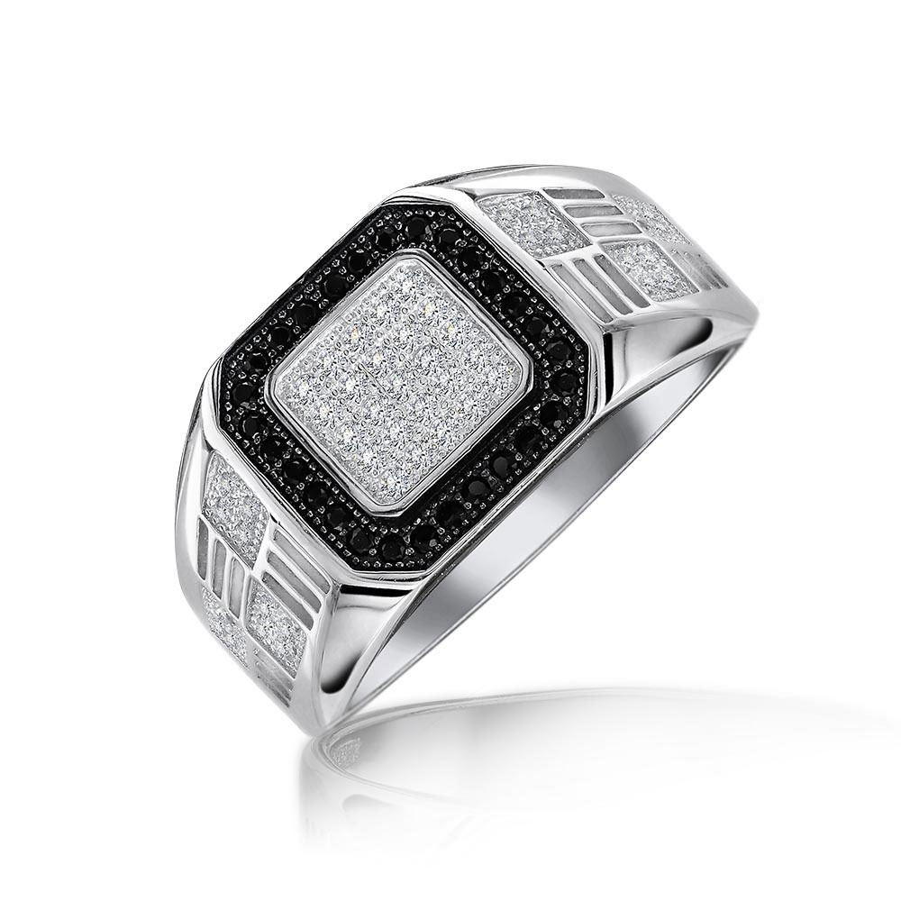 bling jewelry sterling silver mens square black pave cz