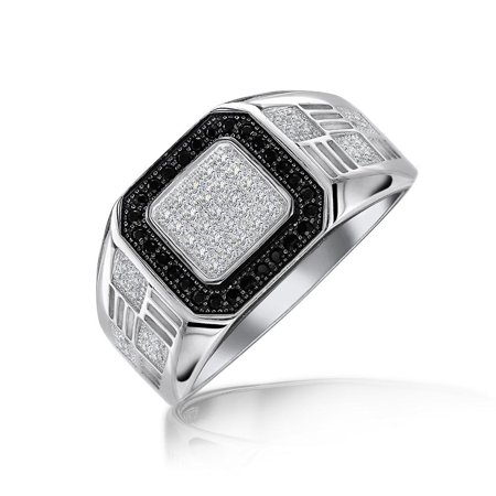 Mens Geometric 925 Sterling Silver Micro Pave Halo Square White Black CZ Cubic Zirconia Pinky Engagement Ring For Men ()
