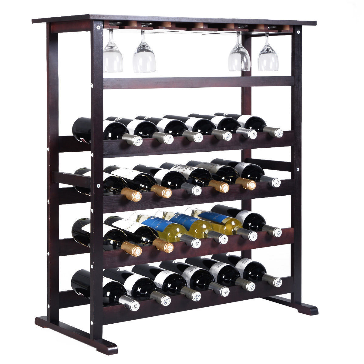 Costway 24 Bottle Wood Wine Rack Holder Storage Shelf Display w/ Glass Hanger