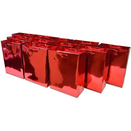 "7.5x9x3.5"" 12 Pcs. Medium Metallic Red Paper Gift Bags with Metallic Handles, Party Favor Bags for Birthday Parties, Weddings Gifts Metallic Gift Bag"