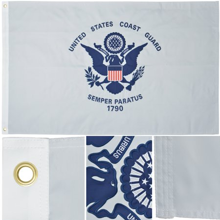 Premium Us Flag (U.S. Coast Guard 3' x 5' Ft 210D Nylon Premium Outdoor Embroidered USCG Flag By Green Grove)