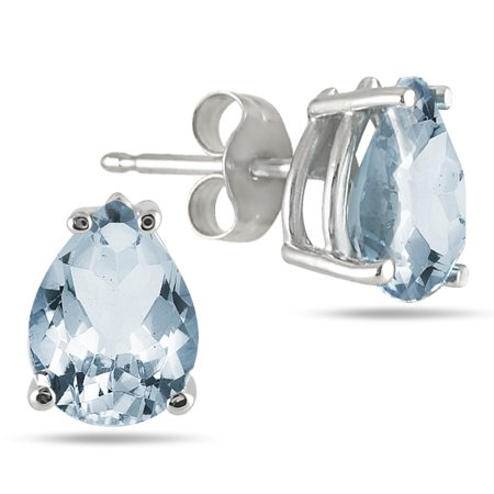 Aquamarine Pear Earrings - All-Natural Genuine 7x5 mm, Pear Shape Aquamarine earrings set in 14k White Gold