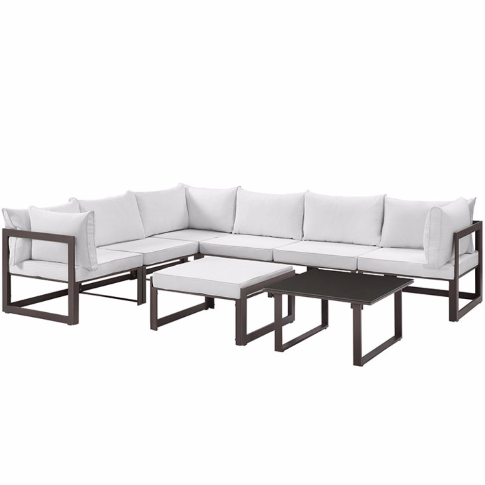 Modway Fortuna 8 Piece Outdoor Patio Sectional Sofa Set, Multiple Colors
