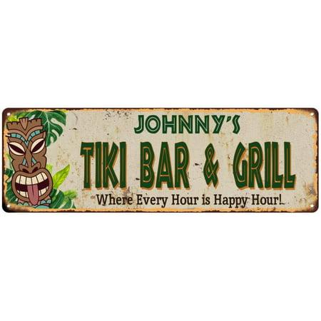 Tiki Bar Sign (Johnny's TIKI BAR & GRILL Sign Vintage Look 6x18 Metal Wall Décor)
