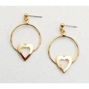 Gold-plated Hoop Earrings/ Heart heart & clip