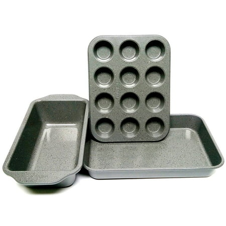 casaWare Toaster Oven 3pc Set (Baking, Loaf and Mini Muffin Pan 12 Cup) (Silver (Granite Cup Pull)