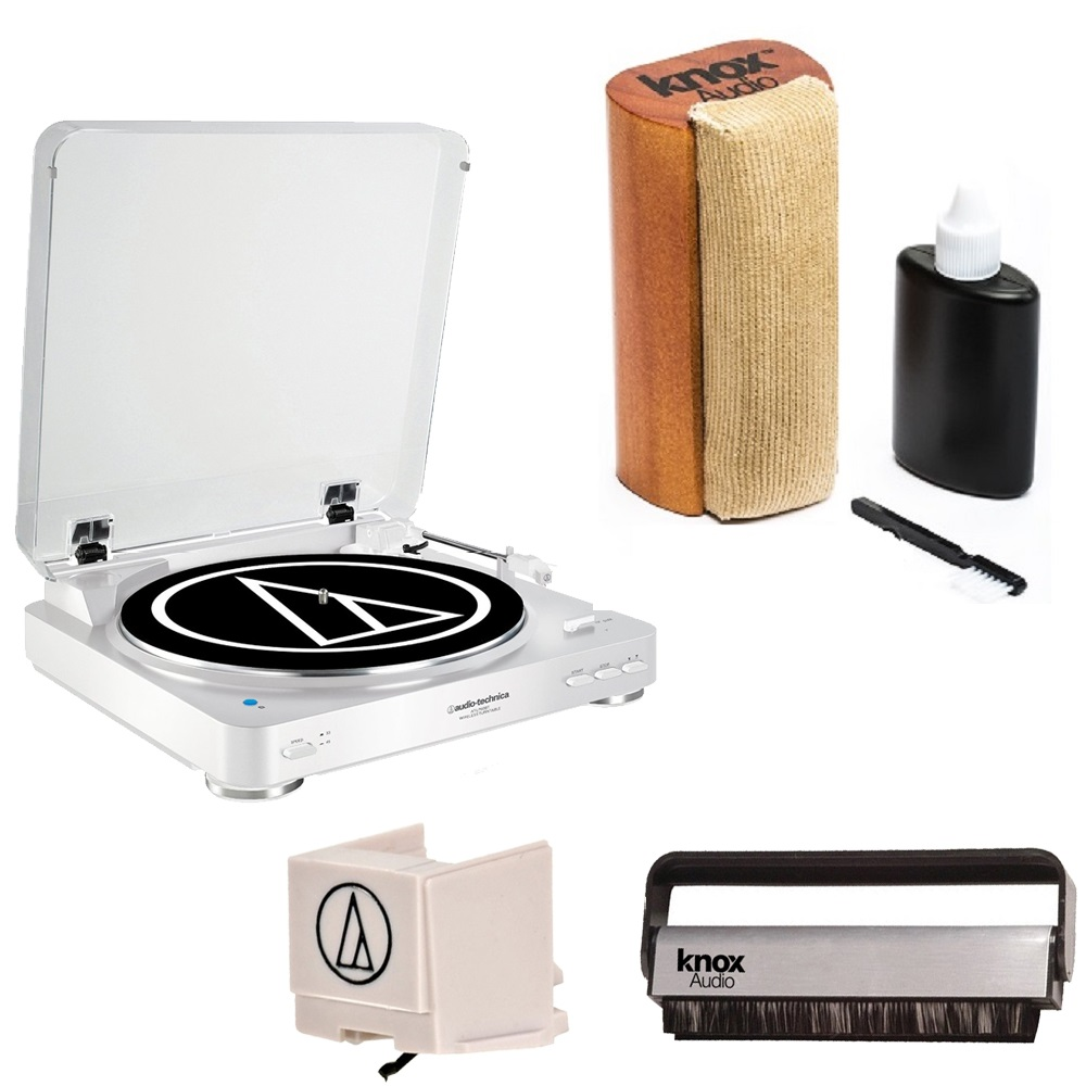 Audio-Technica AT-LP60BK Turntable + Replacement Stylus + Knox Vinyl Brush Cleaner