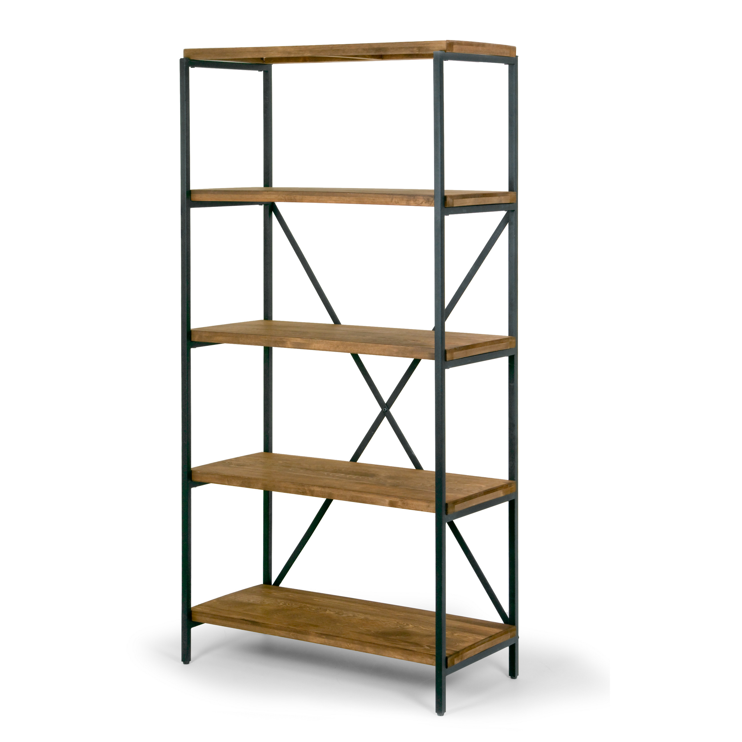 "Ailis 67"" Brown Pine Wood Shelf Etagere Bookcase Media Center with Metal Frame by Glamour Home"