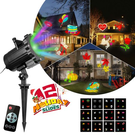 Enjoyofmine Christmas Halloween Projector Lights, 12 Switchable Patterns Slides Landscape Motion Waterproof Projector Lights with Remote Control for Indoor Outdoor Holiday Xmas Halloween Decoration (Motion Sensor Halloween Decorations Uk)