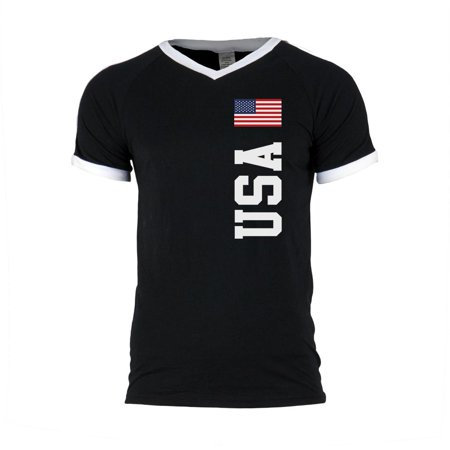 Custom Green Soccer Jerseys (4th of July World Cup USA Mens Soccer Jersey V-Neck T-Shirt)