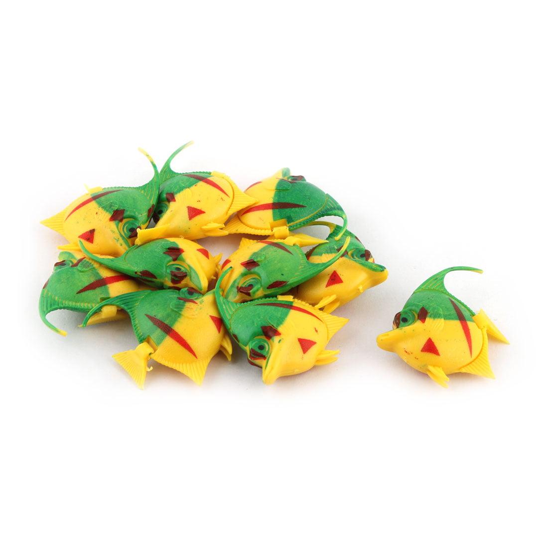 Aquarium Simulated Floating Plastic Fish Decoration Ornament Green Yellow 10 PCS