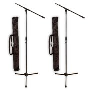 Podium Pro MS2 Adjustable Steel Microphone Stands with Booms and Bags 2 Stand Set MS2SET9-2S