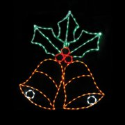 54 in. Outdoor LED Blinking Bells with Holly Lighted Display - 200 Bulbs