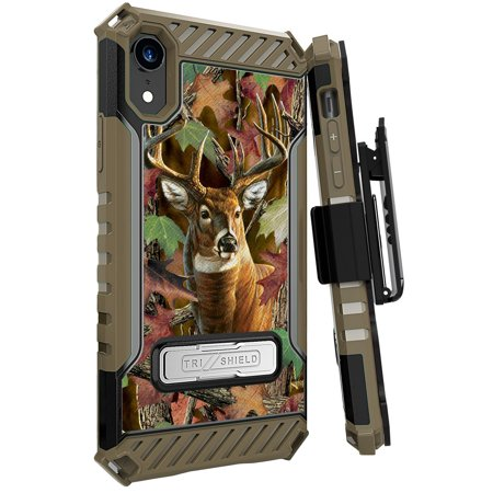 """iPhone XR Case with Clip, Outdoor Deer Hunter Camo Rugged Cover and Belt Hip Holster [Metal Kickstand + Wrist Strap Lanyard] for Apple iPhone XR (2018) (Size 6.1"""" model) (10R)"""