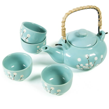 CoreLife Japanese Tea Set, Artisanal Handmade Ceramic Teapot and Cups Set (4 Cups + Teapot with Handle) - Teal White Flower Cherry Blossom - Teak Handle