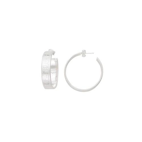 SS-49-006 Sterling Silver Anti-Tarnish Greek Key Hoop Earrings