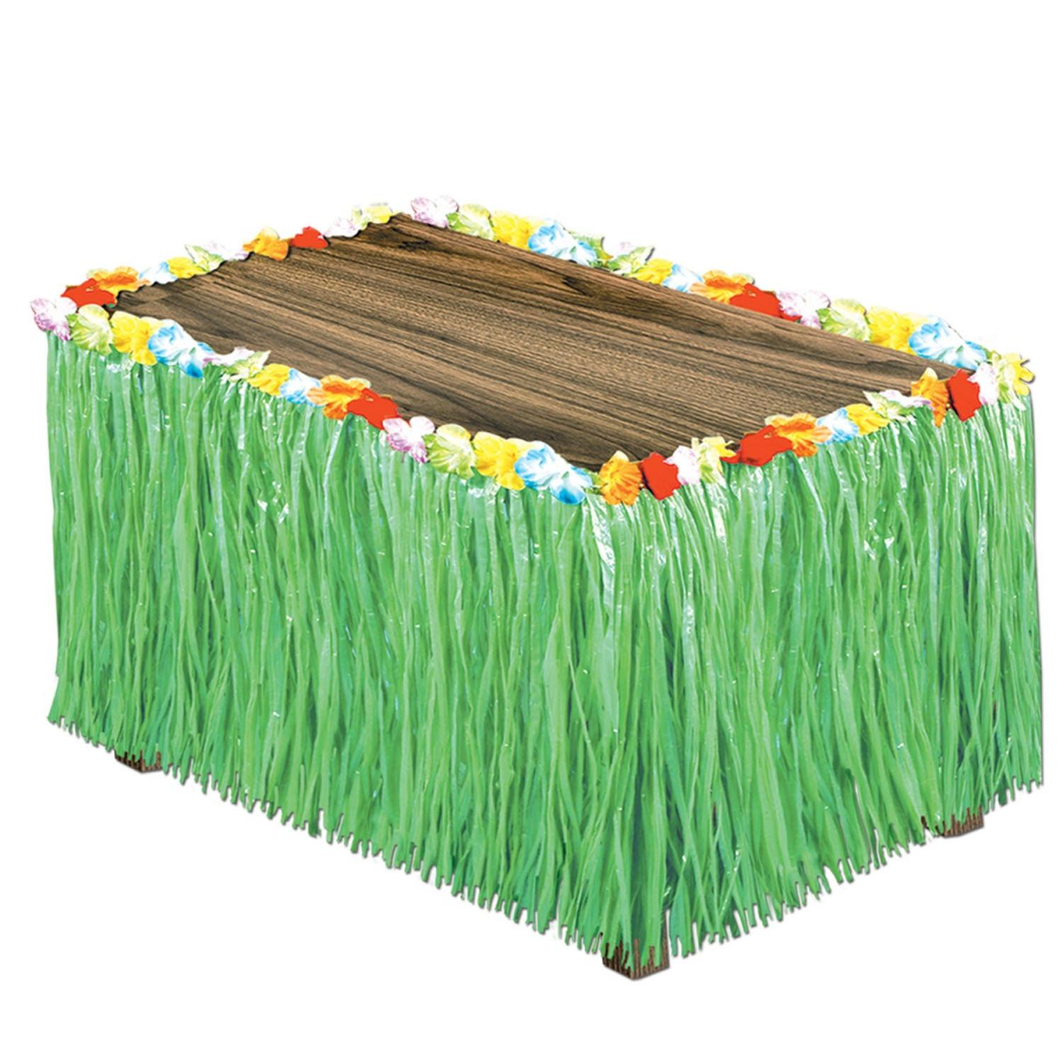 Pack of 6 Tropical Bright Green Artificial Grass Hawaiian Themed Party Table Skirts 9'