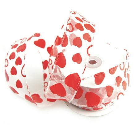 Flock Heart Organza Ribbon, 1-1/2-inch, 25-yard, Red -