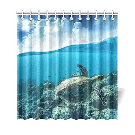 GCKG Ocean Underwater World Shower Curtain, Sea Turtle Polyester Fabric Shower Curtain Bathroom Sets 66x72 Inches - image 3 of 3