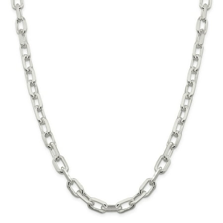 """Sterling Silver 9 MM Fancy Diamond-cut Open Link Cable Chain Necklace, 20"""""""