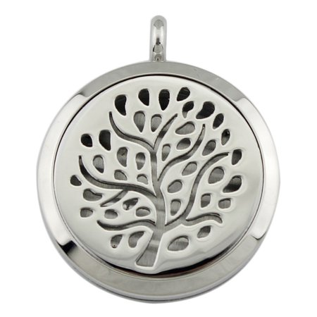 Meigar Essential Oil Diffuser Necklace Aromatherapy Jewelry Wave Stainless Steel Locket Pendant ,Hollow Trees color