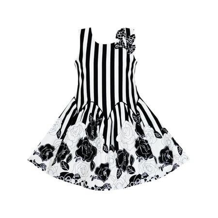 Girls dress sleeveless black white stripes flower bow tie 14 girls dress sleeveless black white stripes flower bow tie 14 walmart mightylinksfo