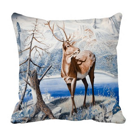 PHFZK Winter Landscape Nature Scenery Pillow Case, Animal Reindeer among River Edge Pillowcase Throw Pillow Cushion Cover Two Sides Size 18x18 inches ()