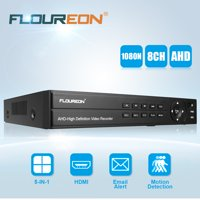 DVR Recorders for Security Cameras, FLOUREON 8CH 1080P 1080N HDMI H.264 CCTV Security Video Recorder Cloud DVR Support P2P Technology, Motion detection, Monitoring via Computer, Smartphones