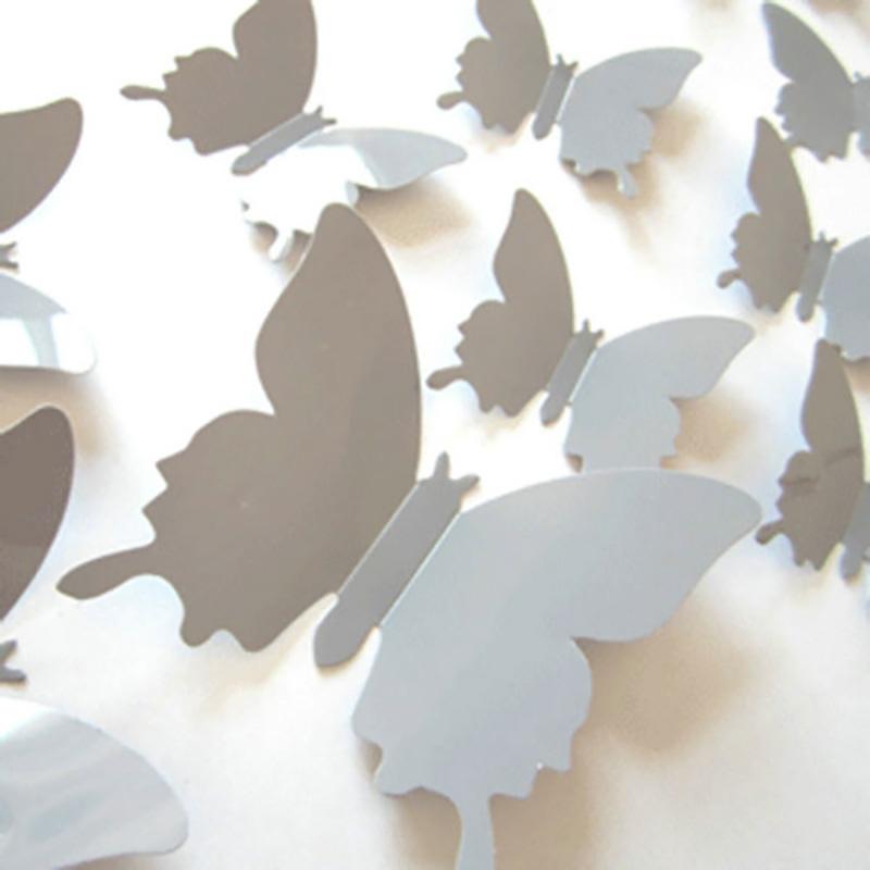 12Pcs/Set Removable 3D Butterflies Wall Art Stickers Baby Girl Decals Room DIY Home Decor